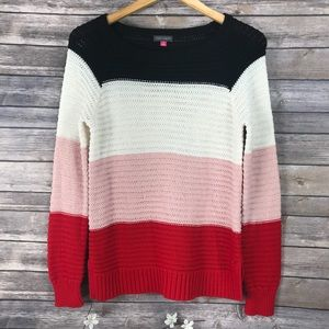 Vince Camuto Colorblock Sweater Red White Black